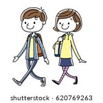 boys and girls  walking | Shutterstock .eps vector #620769263