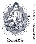 sitting buddha over high... | Shutterstock .eps vector #620794118