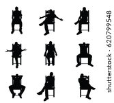 man silhouette sitting on chair ... | Shutterstock .eps vector #620799548