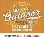 outdoor wild camp  vector print ... | Shutterstock .eps vector #620802800