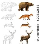 low poly vector animals set  ... | Shutterstock .eps vector #620812658