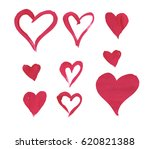 red brush painted hearts... | Shutterstock . vector #620821388