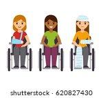 young women in wheelchairs... | Shutterstock . vector #620827430