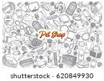 Stock vector hand drawn pet shop doodle set background with orange lettering in vector 620849930