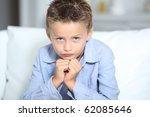 cute little boy with hands on... | Shutterstock . vector #62085646