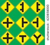 yellow traffic signs   Shutterstock .eps vector #620858000