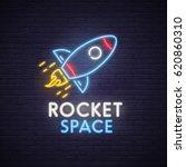 rocket neon sign  bright... | Shutterstock .eps vector #620860310