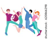 happy group of people jumping... | Shutterstock .eps vector #620866298