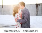 husband kisses wife on forehead | Shutterstock . vector #620883554