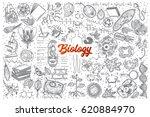 hand drawn biology doodle set... | Shutterstock .eps vector #620884970
