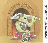 green fantasy monster with sword   Shutterstock .eps vector #620886083