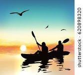 Silhouette Of Girls Kayaking ...