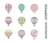 aerostat  air balloon  outline... | Shutterstock .eps vector #620899328