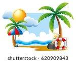 summer scene with sun and ocean ... | Shutterstock .eps vector #620909843