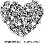 heart of blooming roses. | Shutterstock .eps vector #620913950