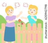 senior female neighbor fighting ... | Shutterstock .eps vector #620942798