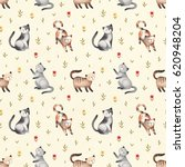 Stock photo watercolor illustration of cute cats seamless pattern 620948204