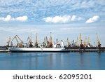 Big Cargo Ship At Big Sea Port...