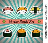 vector sushi set | Shutterstock .eps vector #620953334