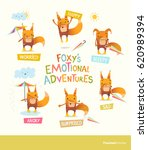 foxy's emotional adventures.... | Shutterstock .eps vector #620989394