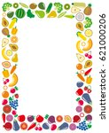 set of vegetables and fruits... | Shutterstock .eps vector #621000206
