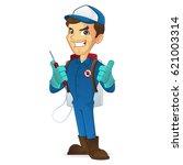 exterminator giving thumbs up... | Shutterstock .eps vector #621003314