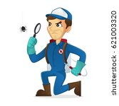 exterminator searching for bug... | Shutterstock .eps vector #621003320
