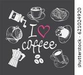 hand drawn coffee set. design... | Shutterstock .eps vector #621024920
