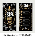 hand drawn seafood restaurant... | Shutterstock .eps vector #621037493