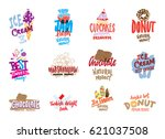 sketch candies and sweets logos ... | Shutterstock .eps vector #621037508