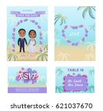 summer wedding invitation cars... | Shutterstock .eps vector #621037670