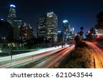 long exposure image of downtown ... | Shutterstock . vector #621043544