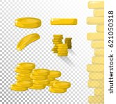 money. gold coins set isolated... | Shutterstock .eps vector #621050318