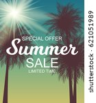 summer sale background vector... | Shutterstock .eps vector #621051989