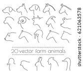 Stock vector vector logo monochromatic silhouette farm animals 621063578