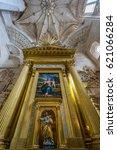 Small photo of Burgos, Spain - March 24, 2017. Vault and Altarpiece Holy Family painting by Sebastiano del Piombo at Chapel of the Presentation (Capilla de la presentacion) Burgos Cathedral Built by Juan de Matienzo
