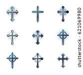 crosses of christianity emblems ... | Shutterstock .eps vector #621069980
