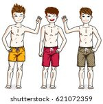 cute happy young teen boys... | Shutterstock .eps vector #621072359