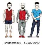 handsome young men standing... | Shutterstock .eps vector #621079040