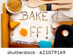 baking   bake off   written in... | Shutterstock . vector #621079169