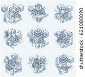 3d abstract vector isometric... | Shutterstock .eps vector #621080090