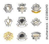 royal symbols  flowers  floral... | Shutterstock .eps vector #621080690