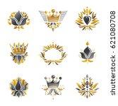 royal symbols  flowers  floral... | Shutterstock .eps vector #621080708