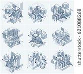 3d abstract vector isometric... | Shutterstock .eps vector #621088268