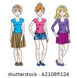 happy cute young women group... | Shutterstock .eps vector #621089126