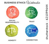 watercolor business ethics... | Shutterstock .eps vector #621099644