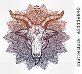 all seeing eye in ornate round... | Shutterstock .eps vector #621116840