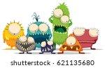 alien monster character doodle... | Shutterstock .eps vector #621135680