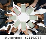 group of people using mobile... | Shutterstock . vector #621143789