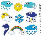 funny different weathers... | Shutterstock .eps vector #621145430